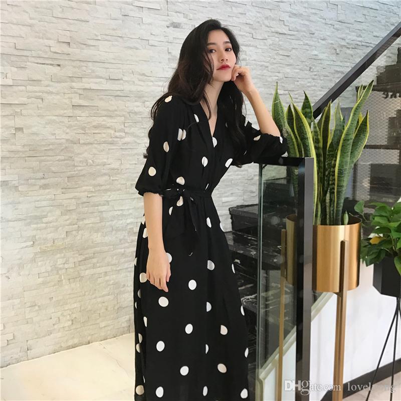 ae55c8812e1b SuperAen Sommerfrauen Kleid Korean Style Fashion V-Ausschnitt Damen Langes  Kleid Beiläufige Halbe Hülsen Punkt Kleid Weiblich Neu 2018