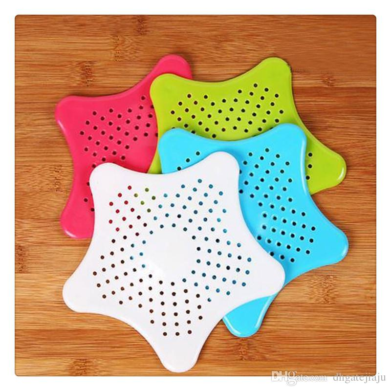 Strainer Filter Bathroom Accessories Silicone Sucker Kitchen Sink Toilet Hair Sewer Pentagram Anti Blocking Cleaning Supplies Home