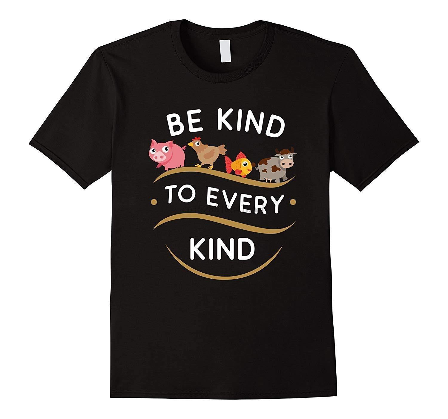 Be Kind To Every Kind Vegetarian Funny Animals Black T-shirt Cartoon t shirt men Unisex New Fashion tshirt free shipping funny