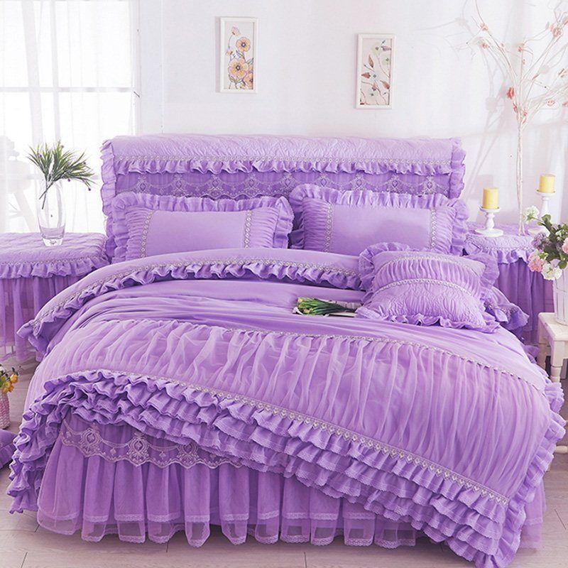 Pink Beige Purple Lace Princess Bedding Set King Queen Size Ruffles