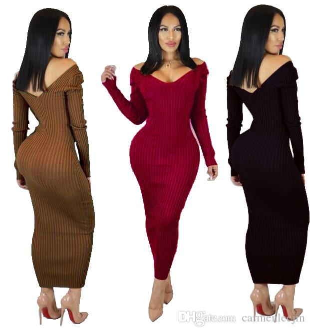 b1db57d60f3 Autumn Long Sleeve Clubwear Night Out Casual Dresses 2019 New V Neck  Bodycon Sexy Long Dress Party Winter Long Dresses Vestidos Evening Dresses  Ladies Lulu ...