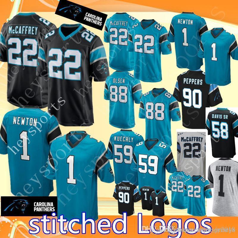 brand new 0275c 29c01 1 Cam Newton Carolina Panthers 22 Christian McCaffrey Jersey Mens 90 Julius  Peppers 88 Greg Olsen stitched Football Jerseys