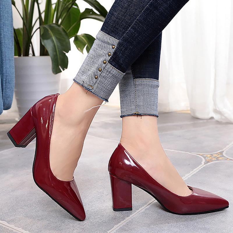 2f5af0a255f Designer Dress Shoes Woman heels plus size 8.5-10.5 pointed toe shallow  elegant leather dress pumps comfortable hard-wearing high heels