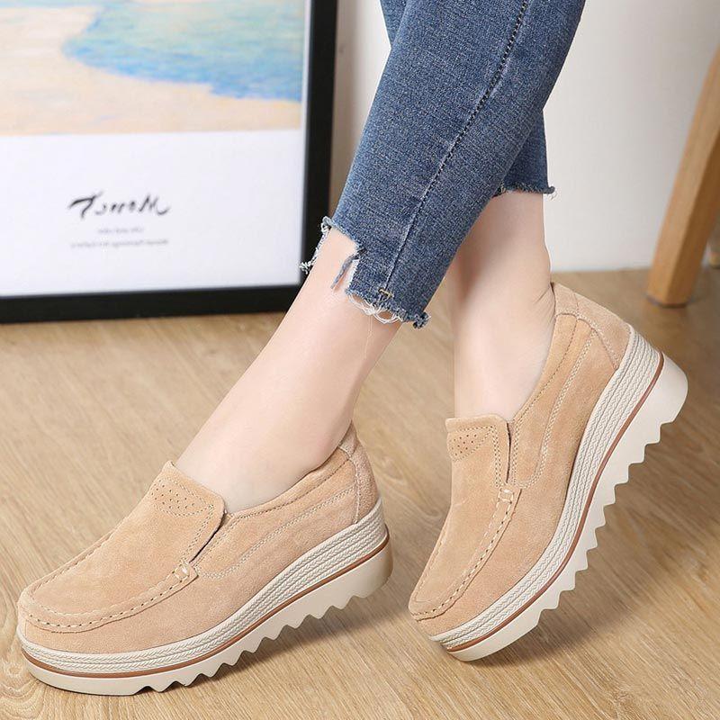 4bc05c634b2b4 Compre Zapatos De Plataforma 2018 Moda Nueva Primavera Otoño Flecos  Enredaderas Zapatos Casuales Mujer Zapatillas De Cuero De Gamuza Pisos Mujer  A  36.56 ...