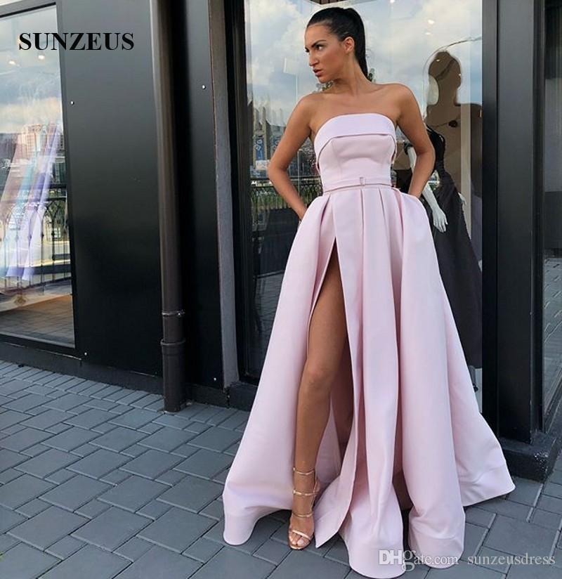 c825464939c Bustier Rose Clair Robes De Soirée A-line Longueur Au Sol Longueur Robes De  Soirée En Satin Pour Femmes 2019 Simple Tenue De Cuisse Côté Slit