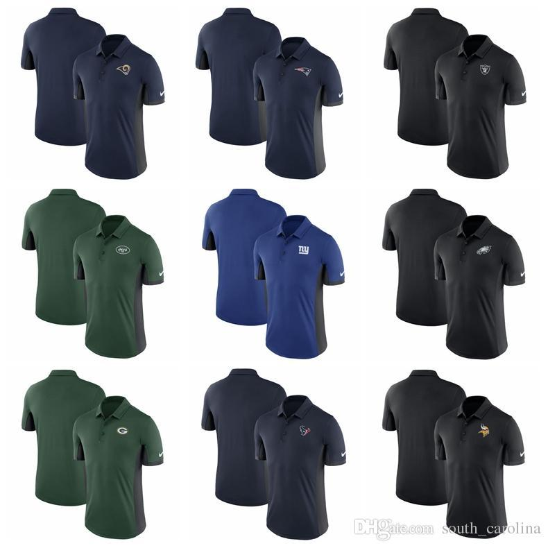 best sneakers a8c4e 183de Men Philadelphia Eagles Shirt Oakland Raiders New York Jets Los Angeles  Rams Giants Patriots Vikings Minnesota Navy Evergreen Polo Shirt