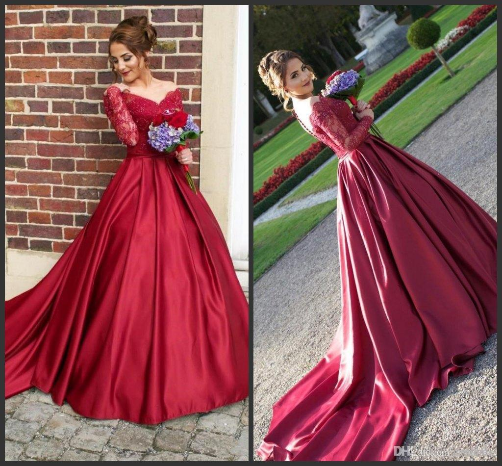a96560489d2 2019 Glamorous Long Sleeves Red Prom Dresses A Line Backless V Neck  Appliques Beaded Long Evening Party Gowns Arabic Dubai Bridesmaids Gown  Scala Prom ...