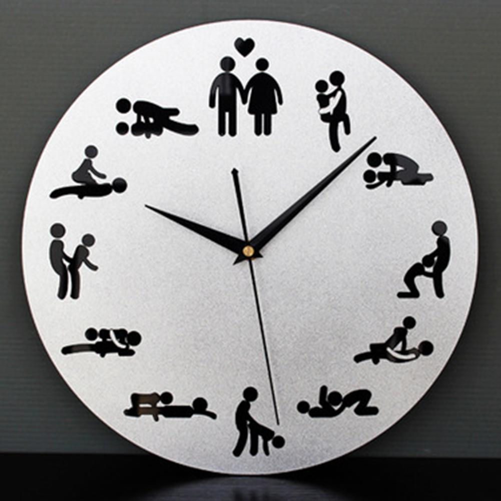 New Modern Sex Position Clock Novelty Silent Wall Clock For Wedding Lover  Sexual Culture Wall Watches Home Decor