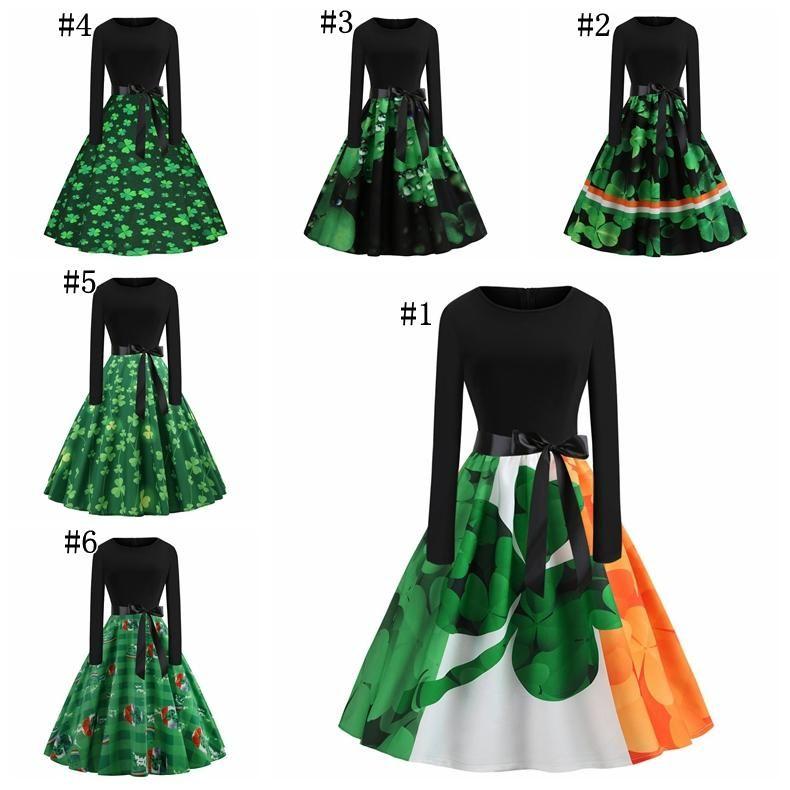 0e32dba27def St. Patrick's Day Dresses Long Sleeve Shamrock Clover Dress Vintage Dress  Women Clothes Saint Patrick Parades Irish 6 Styles MMA1379 30pcs
