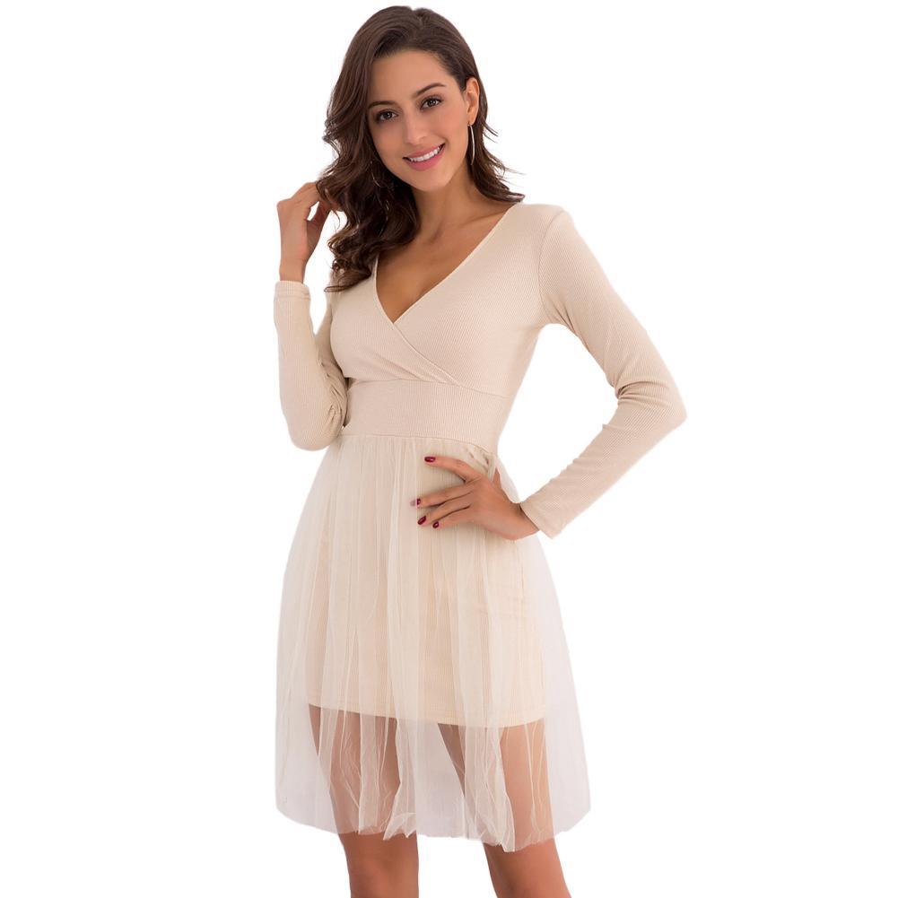 336895697 2018 Spring Women Knitted Skater Dress Mesh Layered Long Sleeve ...