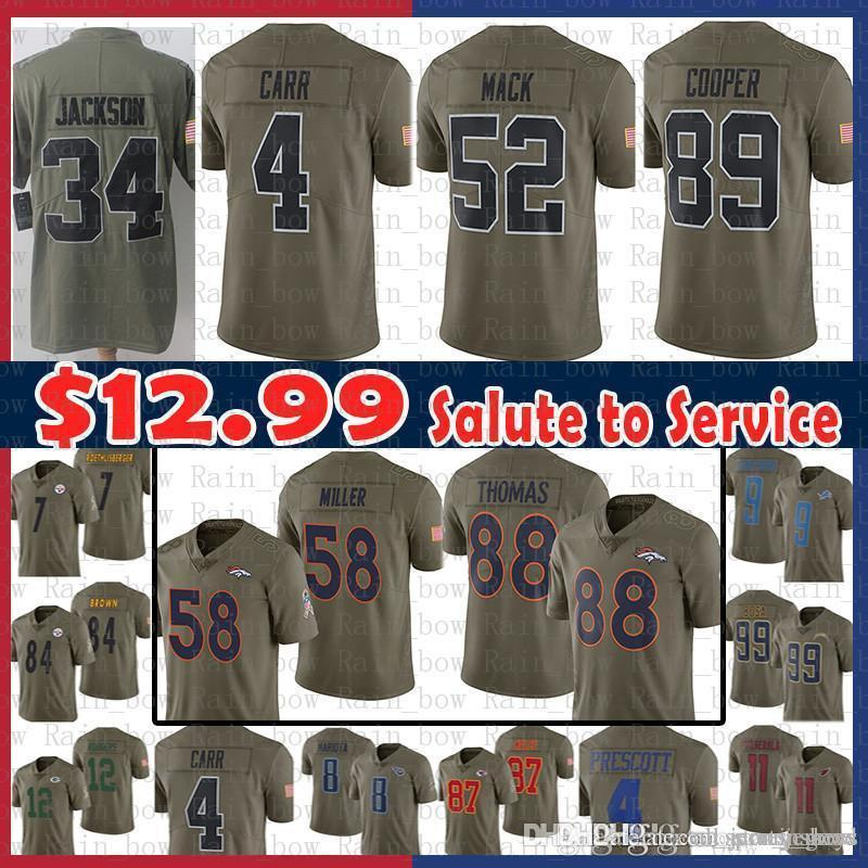 15c33b656 2019 Sale 4 Derek Carr 34 Bo Jackson Oakland Jersey Raiders Denver 58  Broncos Von Miller 88 Demaryius Thomas 2017 Salute To Service 89 Cooper From  ...