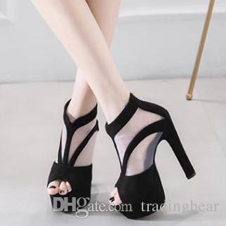 c1e7b2ac Compre 15 Cm Plataforma De Tacón Alto Y Peep Toe Negro Sexy Botines De Tacón  Alto Zapatos Zapatillas Para Mujer Diseñador Sandalias Tamaño 34 A 39 A  $28.83 ...