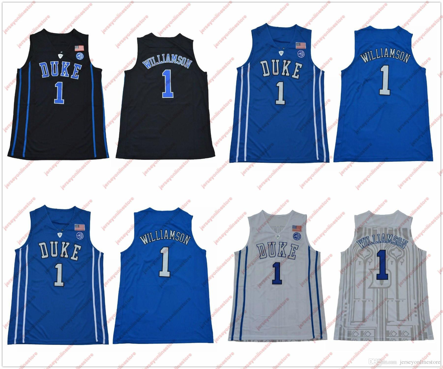 buy popular eacb9 d3721 Mens Duke Blue Devils #1 Zion Williamson Jersey Black Blue White Zion  Williamson Duke College Basketball Jerseys Stitched