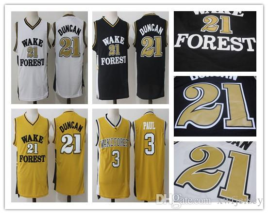 ef01bfdca6d 2019 Wake Forest Demon Deacons College Chris  3 Paul Basketball Jerseys Tim   21 Duncan Shirts University Full Stitched Basketball Jersey S XXL From ...