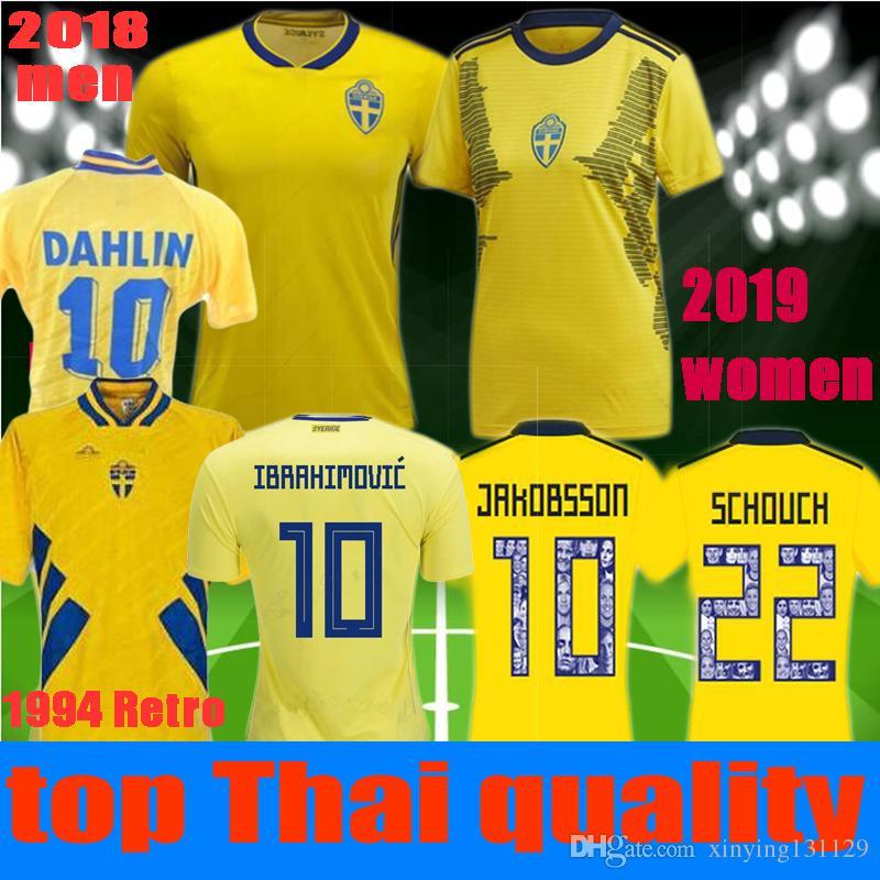 new product 12765 15ada women men 2019 2018 World Cup IBRAHIMOVIC Sweden Soccer jersey JAKOBSSON  1994 DAHLIN Sweden Retro Jerseys 19 20 LJUNGBERG Football shirt