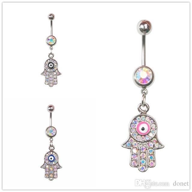 Stainless Steel Fashion Hamsa Hand Navel Ring Evil Eye Belly Ring Body Piercings Fashion Jewelry