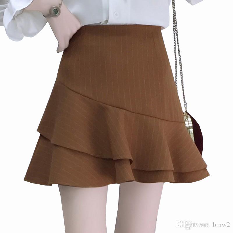 d27cb37b24ac2 2019 Summer Temperament Fishtail Skirt Women Fashion Striped A Word Skirt  Female High Waist Mini Saia Plus Size Ladies Faldas
