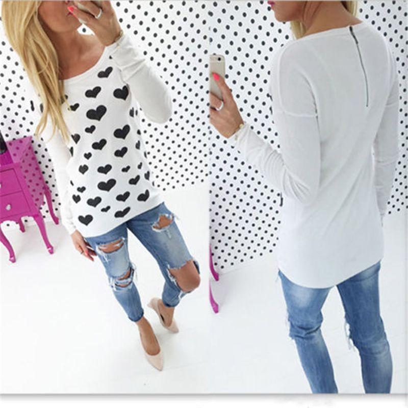 Long Sleeve Coração Forma Impresso Blusa 2018 Spring Fashion Streetwear Túnica Shirt Jumper Tops Blusas Camisas Mujer XL