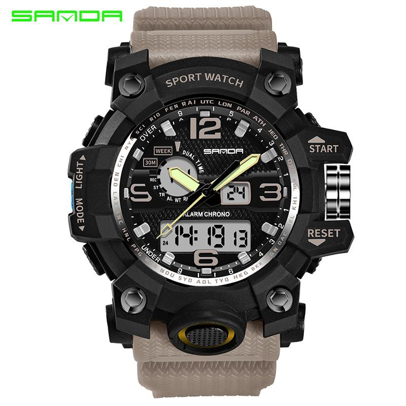 SANDA watch waterproof sports watches men's LED digital watch top clock camping diving relogio masculino