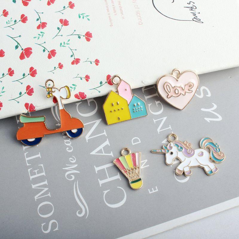 10pcs Enamel Heart Shape Charms DIY Women Necklace Pendant Jewelry Accessory