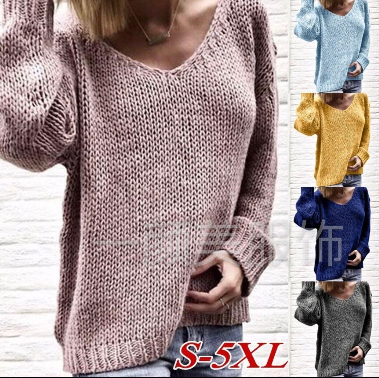d8f0fbf20413 2019 European And American New V-neck Loose Women s Sweater Spot ...