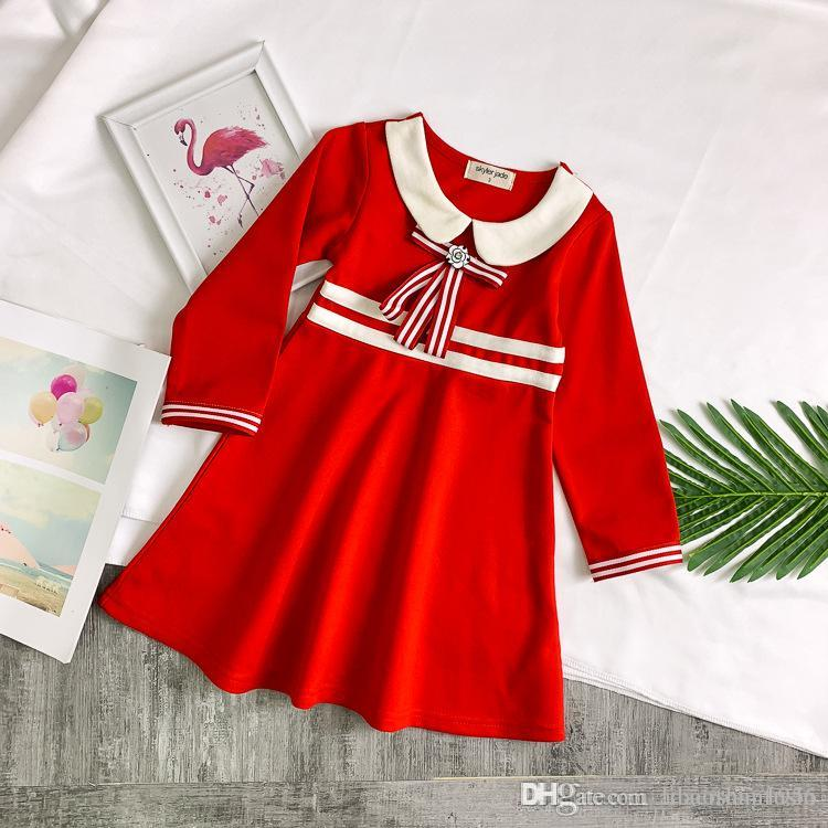 Girls temperament cotton dress spring fashion long-sleeved dress British style student dress summer hot T-shirt shirt short sleeve