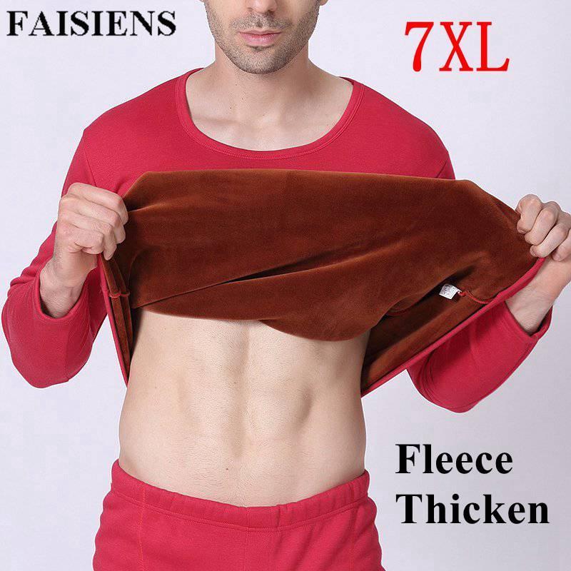 a04cd7cd895 2019 Plus Size 5XL 6XL 7XL 2018 Winter Men Thicken Thermal Fleece Long  Johns Solid Red Black Man Warm T Shirt + High Waist Pants Sets From  Vikey06