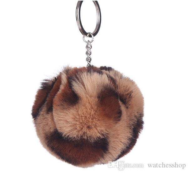 Fashion Keychain Ball Key Chain Car Keyring Holder Bag Pendant Charm Keychain Plush Key Chain Rabbit hair Key Ring Leopard grain
