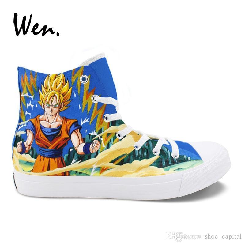 9320956ab991a0 Compre Wen Zapatos Personalizados Pintado A Mano Dragon Ball Saiyan Zapatillas  De Lona Zapatos De Cosplay Anime Alta Ayuda Alpargatas Planas Plimsolls ...
