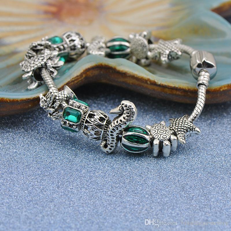 2019 Populaire Bracelets Fit Pandora Femmes Bracelet Argent Perles Ajourées Sculptées Creusées Starfish Ancre Émeraude Strass Bijoux P181