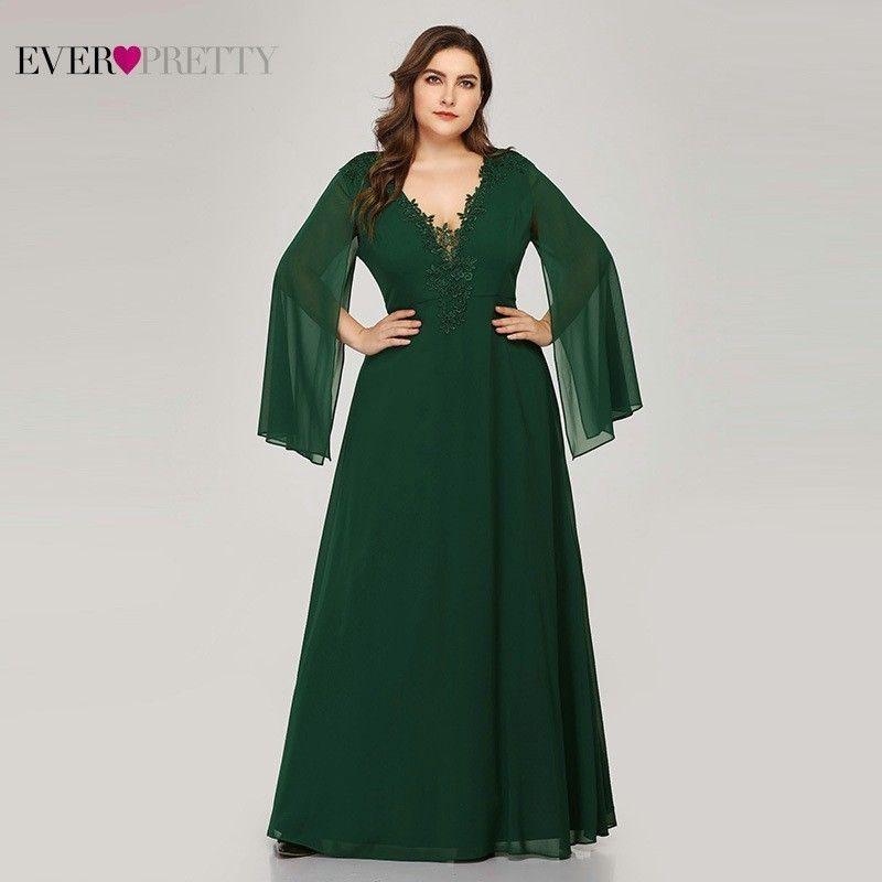 Plus Size Green Evening Dresses Ever Pretty EZ07948 A-Line V-Neck Appliques  Elegant Women Formal Dresses For Party