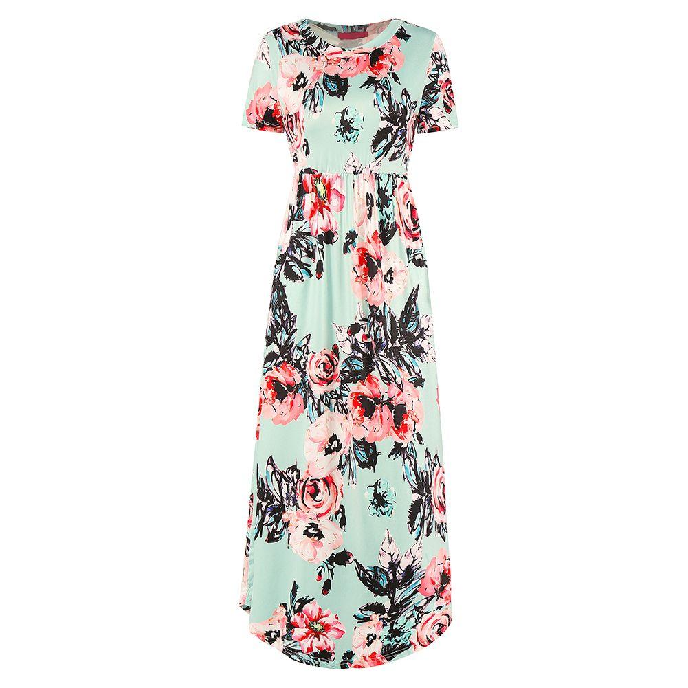bd307f12c36 Women Mid Calf Summer Dress 2018 Floral Print O Neck Short Sleeve Tunic  Dress Pocket Slim Casual Holiday Beach Dress Vestidos Floral White Dress  Womens ...
