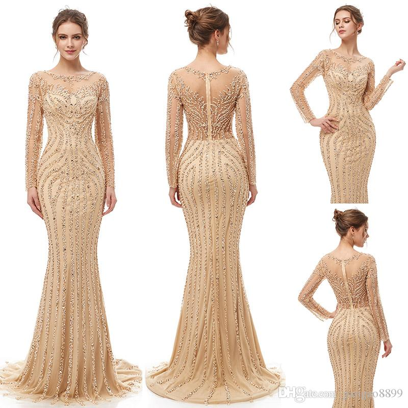 2019 Elegant Champagne Luxury Beaded crystal Mermaid Evening Dresses yousef aljasmi Robe De Soiree sheer tulle neck arabic Prom Formal Gowns