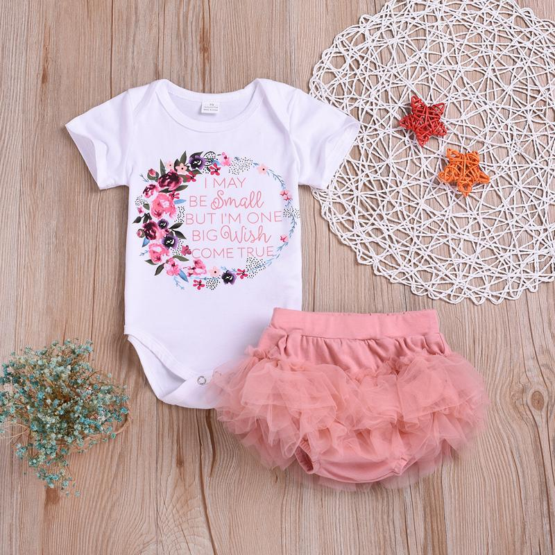 edd86299492a 2019 Baby Girl Set Clothes Infants Summer Letter Floral Bodysuits Romper +  Pink Lace PP Shorts Set Kids Fashion Designer Clothing B11 From Anibaby
