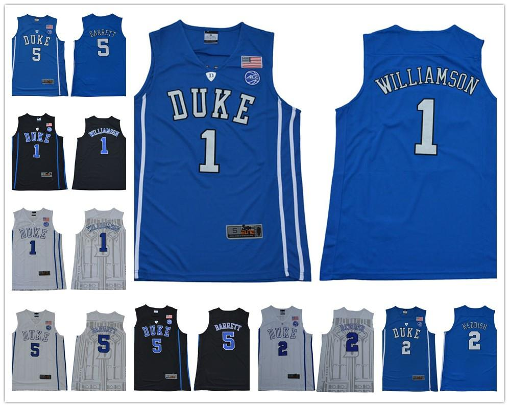 f0076508b98f 2019 2019 Men S NCAA Duke Blue Devils Jersey 1 Zion Williamson 5 RJ Barrett  2 Reddish Royal Blue Black White College Basketball Jerseys From  Gatejerseys