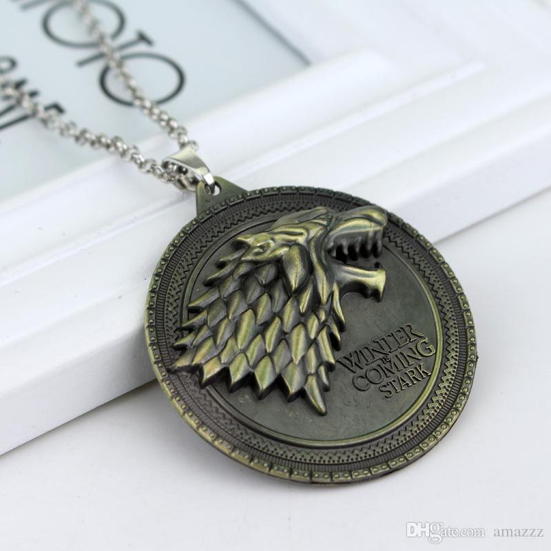 Juego de tronos collar de la casa Stark Winter Is Coming Metal Family Crest colgante de joyería de regalos de regalo Maxi Wolf Punk Men