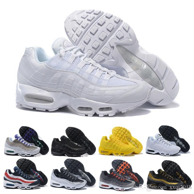 newest 925fb d0840 cheap sale 95 95s Men Running Shoes Triple White Black Grape Solar Red Neon  Trainer Sports Shoes Outdoor Jogging casual sneaker size 36-45