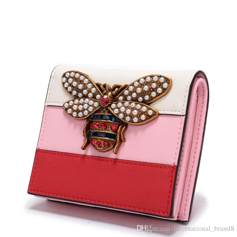 2019 Hot Sale Women Designer Short Genuine Leather Wallet Luxury Female Brands Bee Tri-color Purse Mini Wallet With Gift Box