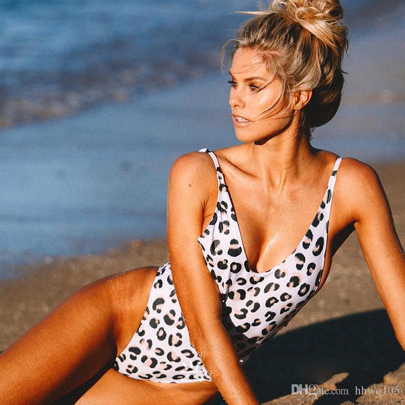 6048ed533b1 2019 Hot Sexy Leopard One Piece Swimsuit Women Beach Suit Plunge Padded High  Leg Monokini One Piece Backless Bikini Bathing Suit CCI0164 From Hhwq105,  ...