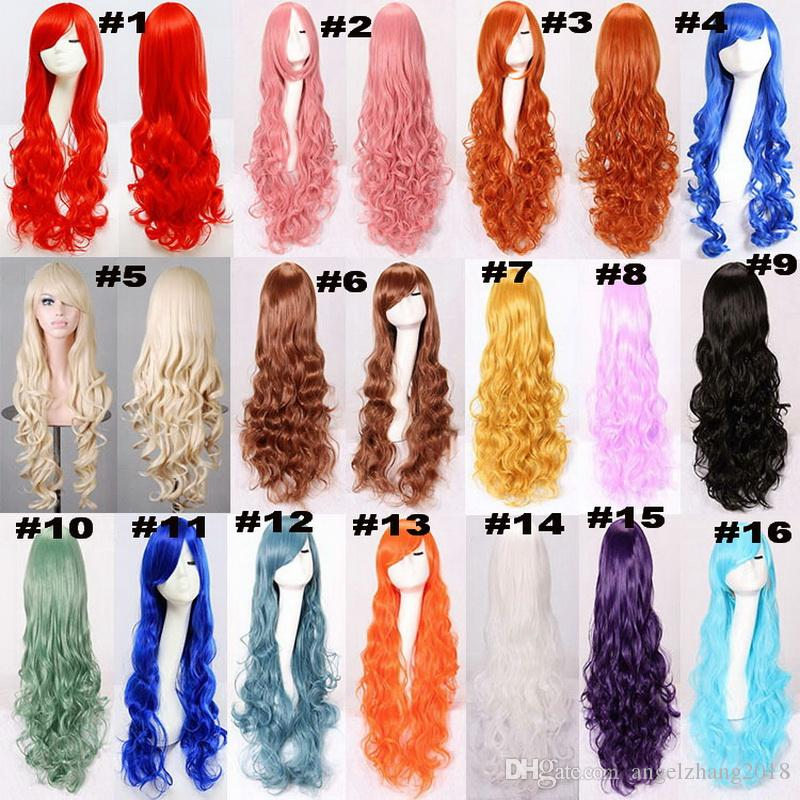 Long Deep Wave Wig Cosplay Wear With Fringe High Tempreture Fiber In 31.5 Inches With 16 Colors Selection