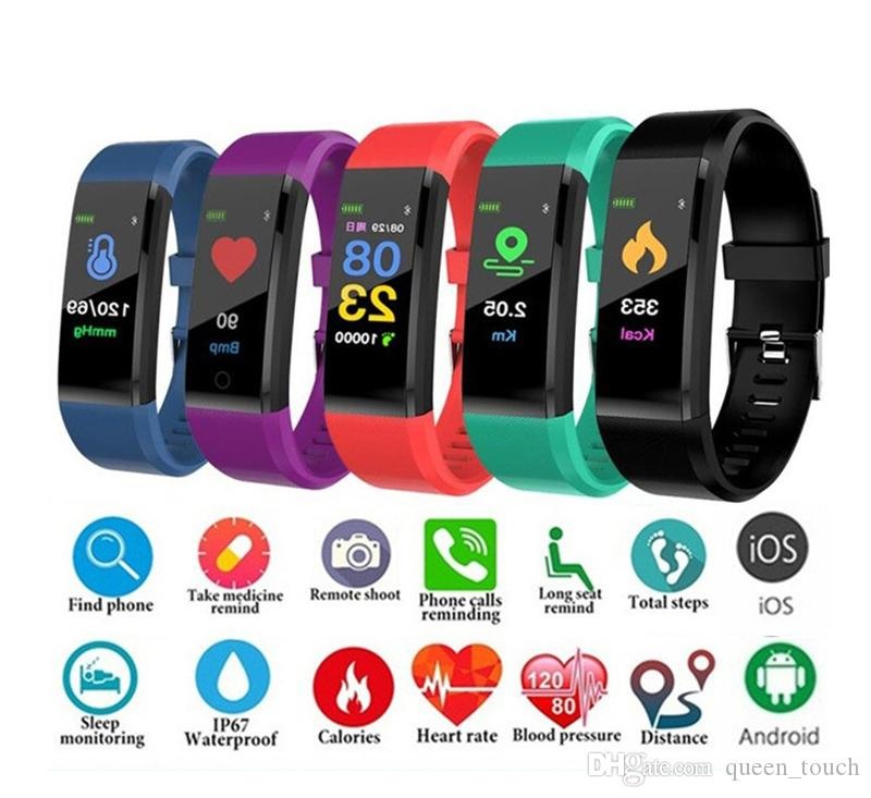 Fitbit ID115 Plus LCD Screen Smart Bracelet Fitness Tracker Pedometer Watch Band Heart Rate Blood Pressure Monitor Smart Wristband