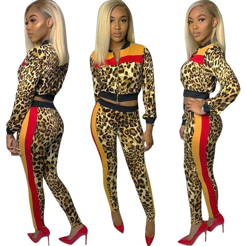 2019 Leopard Jacket+Pant Womens Two Piece Set Casual Sport Suits Fashion  Tracksuit 2019 Spring Autumn Printed Slim Sets From Top youshanping e95c32020