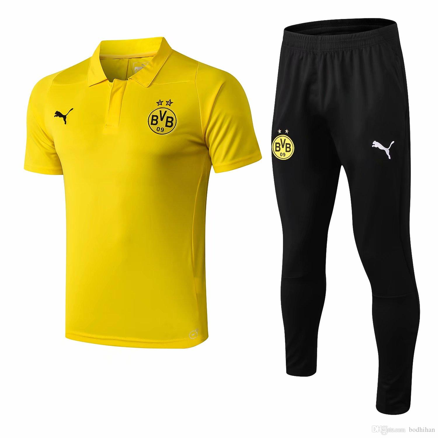 66815ef1ce6 2019 18 19 Newest Borussia Dortmund Polos Shirts Yellow Adult Soccer Jerseys  2019 Tracksuits PACO Sportswear REUS Short Sleeve Training Suits From  Bodhihan, ...