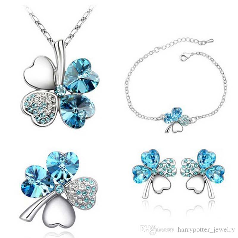 1b2ed3583e537b New Crystal Four Leaf Clover Heart Pendant Necklace Bracelet ...