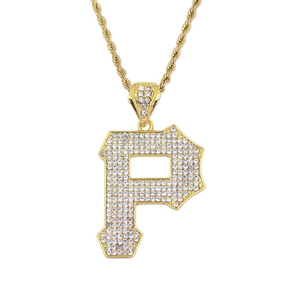 d5cba9543a2b Compre Hip Hop Letra P Diamantes Collares Colgantes Para Hombres Aleación  Capital Collar De Lujo De Acero Inoxidable Cadenas Cubanas Joyería Amante  Envío ...