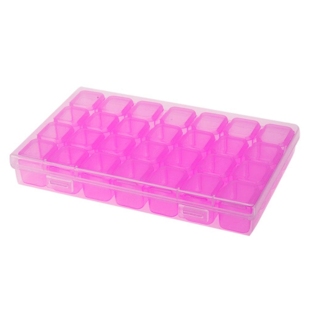 Organizador de arte de uñas Calcomanías de almacenamiento Decoración Joyería Caja de diamantes de imitación Cuentas de colores Contenedor Manicura Accesorio 28 botellas / juego