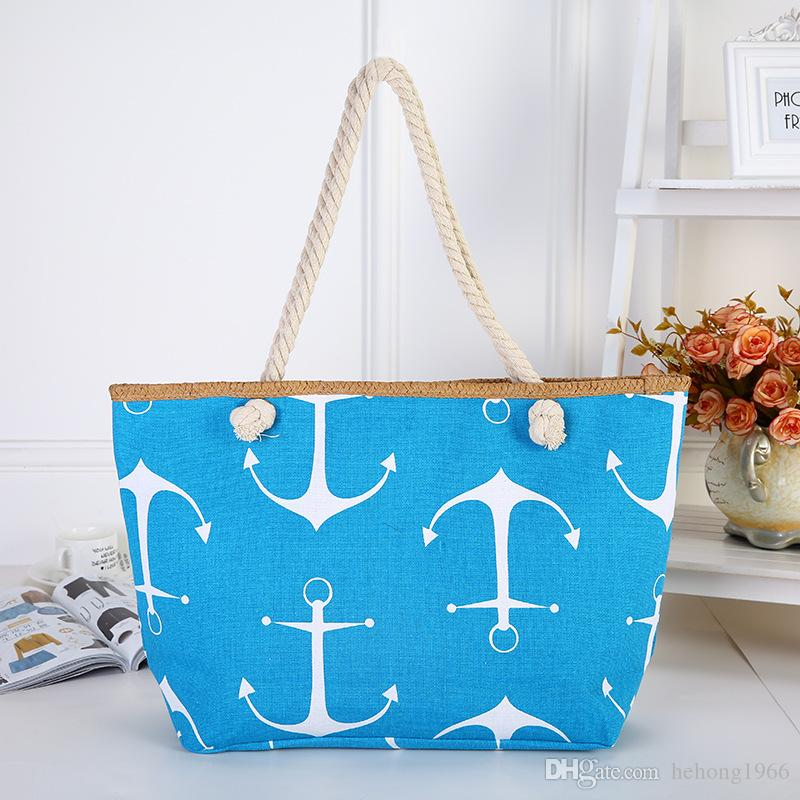 Canvas Lady Handbag Cotton Rope Anchor Painting Beach Package Single Shoulder Anchor Zipper Shopping Storage Bags 13 5zp A1