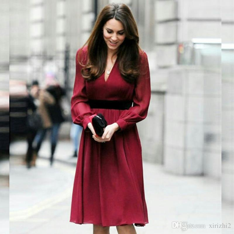 Kate Middleton Same Wine Red Dress Long Sleeve Slim Office Lady Celebrity Same Sexy V Neck Autumn and Winter Dress