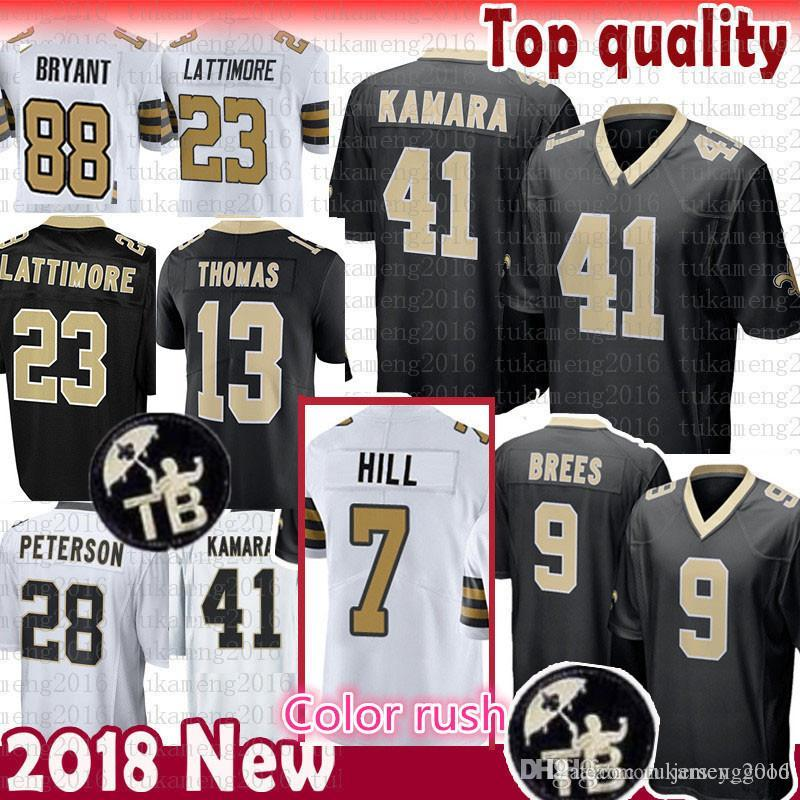 2019 CHEAP SALE 41 Alvin Kamara 7 Taysom Hill New Orleans 9 Drew Brees  Saints Jersey 13 Michael Thomas 23 Marshon Lattimore Peterson 88 Bryant From  ... 5e1c9c455