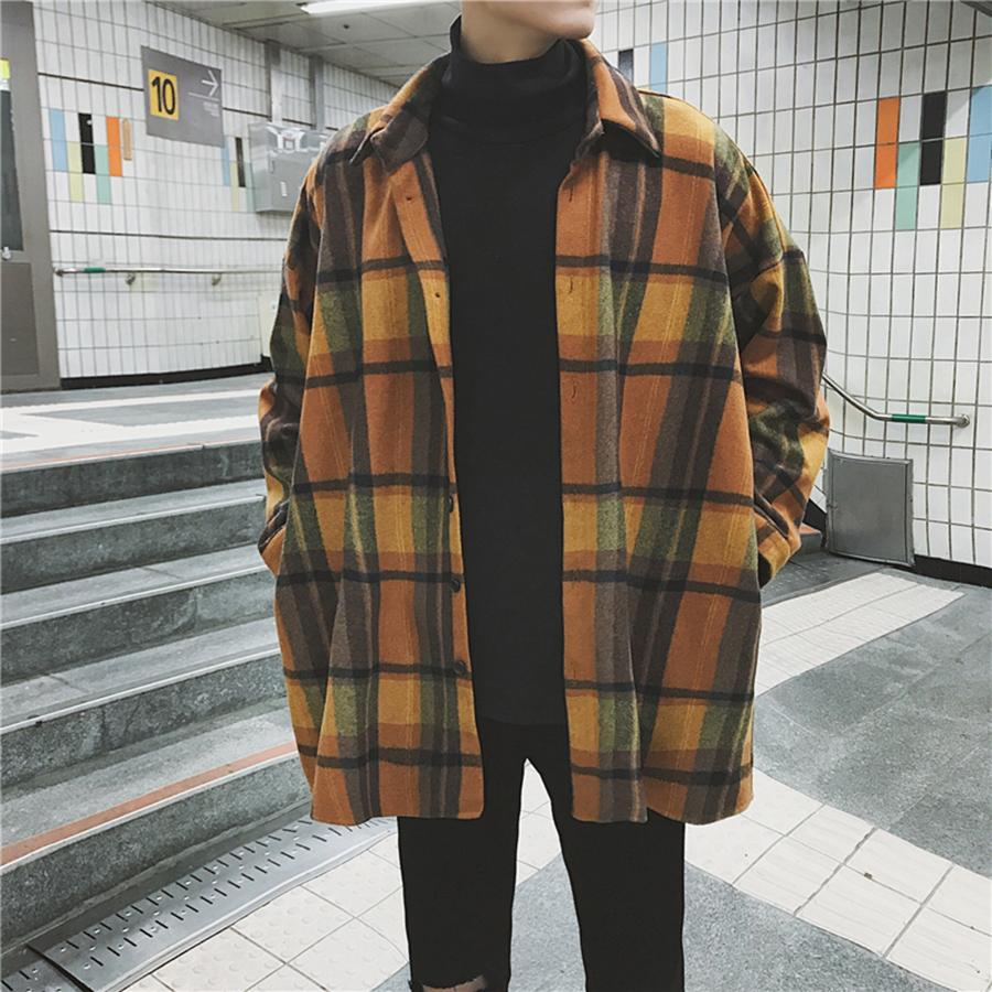 349aa8412 2019 Oversized Flannel Vintage Shirt Men Plaid Long Sleeve Check Shirts For Men  Loose Button Up Shirt Casual Streetwear 6c027 From Yaojao, $51.21 | DHgate.
